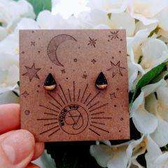 Leseni uhani - Črno zlata solzica